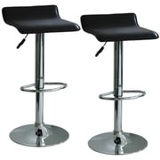 "Buffalo Tools AmeriHome 33 1/2"" Vinyl Adjustable Height 2 Piece Bar Stool Set, Black"