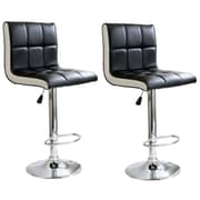 Buffalo Tools AmeriHome 2 Tone Padded Vinyl Adjustable Height 2 Piece Bar Stool Set, Black