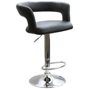 Buffalo Tools AmeriHome Vinyl Adjustable Height Bar Stool With Round Back, Black