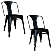 Buffalo Tools AmeriHome Metal 2 Piece Dining Chair Set, Black