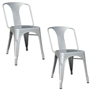 Buffalo Tools AmeriHome Metal 2 Piece Dining Chair Set, Silver