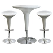 """Buffalo Tools AmeriHome ABS Plastic Modern Adjustable Height 3 Piece Bar Set With 33"""" Stools, White"""