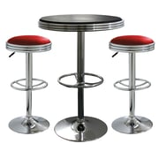 "Buffalo Tools AmeriHome Padded Vinyl Soda Fountain Style 3 Piece Bar Set With 43"" Stools, Red/Black"