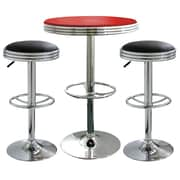 "Buffalo Tools AmeriHome Padded Vinyl Soda Fountain Style 3 Piece Bar Set With 43"" Stools, Black/Red"