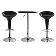 "Buffalo Tools AmeriHome ABS Plastic Adjustable Height 3 Piece Bar Set With 36"" Stools, Black"