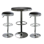 "Buffalo Tools AmeriHome Vinyl Soda Fountain Style 3 Piece Bar Set With 31.75"" Stools, Black/Silver"