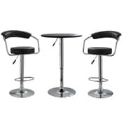 "Buffalo Tools AmeriHome Vinyl Adjustable Height 3 Piece Bar Set With 42 1/4"" Stools, Black"