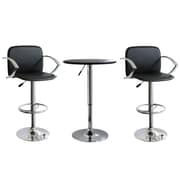 "Buffalo Tools AmeriHome Vinyl Adjustable Height 3 Piece Bar Set With 43"" Stools, Black"