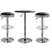 "Buffalo Tools AmeriHome Vinyl Adjustable Height 3 Piece Bar Set With 36"" Stools, Black"