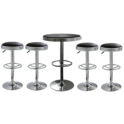 """""Buffalo Tools AmeriHome Vinyl Soda Fountain Style 5 Piece Bar Set With 31 3/4"""""""" Stools, Black"""""" 1383985"