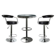"Buffalo Tools AmeriHome Vinyl Soda Fountain Style 3 Piece Bar Set With 33.5"" Stools, Black"