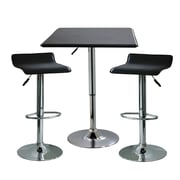 "Buffalo Tools AmeriHome Contemporary Adjustable Height 3 Piece Bar Set With 33 1/2"" Stools, Black"