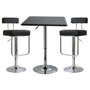 "Buffalo Tools AmeriHome Contemporary Adjustable Height 3 Piece Bar Set With 42"" Stools, Black"