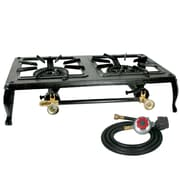 Buffalo Tools Sportsman™ Double Burner Cast Iron Stove With Regulator Hose, Black