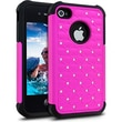 Cellairis® Challenger Hybrid Ripple Case For iPhone 4/4S, Hot Pink/Black