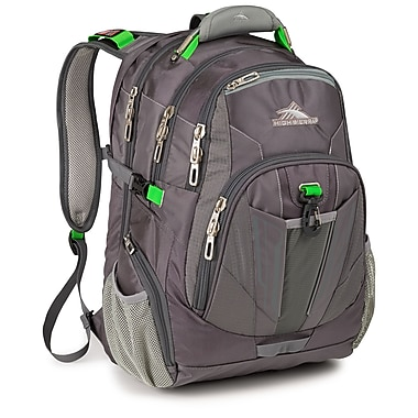 High Sierra Ballistic Nylon XBT TSA Backpack Charcoal, Silver & Kelly Green