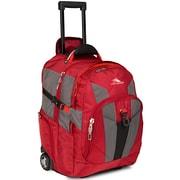 """High Sierra Ballistic Nylon XBT Wheeled Backpack 21"""" x 14"""", Carmine, Red Line & Black"""