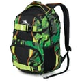 High Sierra Shiny waffle weave Brody Backpack 19in. x 12in., Cognito, Black, Chartreuse & Blaze Orange