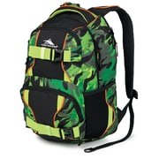 High Sierra Shiny waffle weave Brody Backpack 19 x 12, Cognito, Black, Chartreuse & Blaze Orange