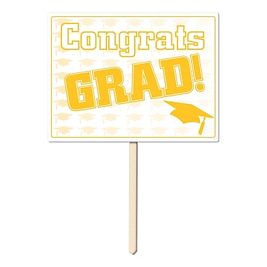 Écriteau en plastique « Congrats Grad », 11 x 15 po, doré, paquet de 3