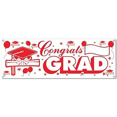 Banderole « Congrats Grad », 5 pi x 21 po, rouge et blanc, paquet de 3