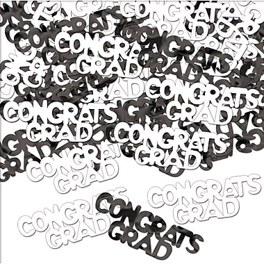 Congrats Grad Fanci-Fetti, Black & White, 5/Pack