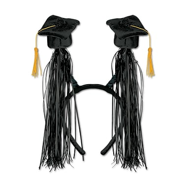 Grad Cap With Fringe Boppers, One Size Fits Most, 2/Pack