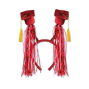 Grad Cap With Fringe Boppers, One Size Fits Most, Red, 2/Pack