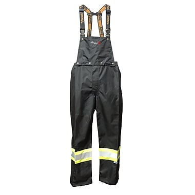 Viking Professional Journeyman 300D FR Waterproof Safety Detachable Bib Pants, Black, Medium