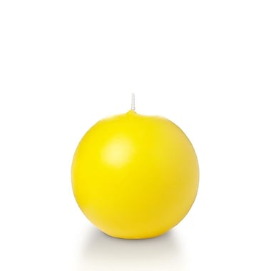 Yummi Sphere / Ball Candles, Bright Yellow, 2.8