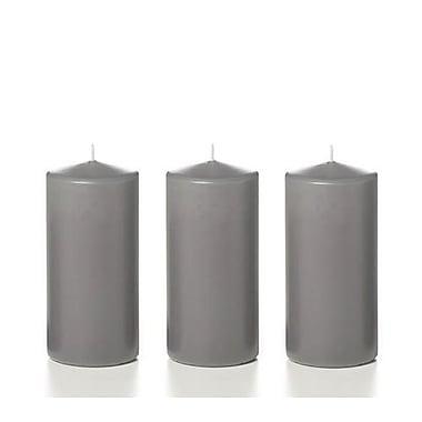 Yummi – Bougies-pilier, gris, 3 x 6 po, 12 bougies par boîte