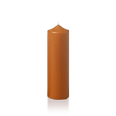 Yummi Slim Round Pillar Candles, Toffee, 2.25