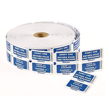 Blueline® Admit One with Coupon Ticket, Blue, Bilingual, 2,000/Roll