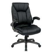Office Star FLH24987-U6 Work Smart Faux Leather Mid-Back Managers Chair with Adjustable Arms, Black