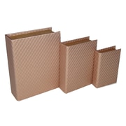 Cheungs 3 Piece Stitchwork Vinyl Book Box Set; Gold