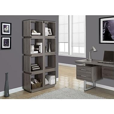 Monarch - Bibliothèque 71 po de haut., 1 tiroir, vieux bois, taupe foncé
