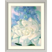 "Amanti Art ""White Rose with Larkspur No.2"" Framed Art Print by Georgia O'Keeffe, 35.63""H x 28.63""W"