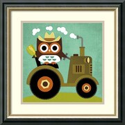 Amanti Art Owl on Tractor Framed Art Print by Nancy Lee, 18.5H x 18.5W