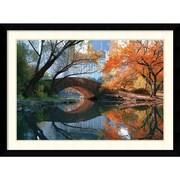"Amanti Art ""Gapstow Bridge, Fall"" Framed Art Print by Michael Chen, 31.63""H x 42.63""W"