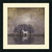 "Amanti Art ""White Horse in Pon"" Framed Art Print by Dawne Polis, 22""H x 22""W"