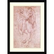 "Amanti Art ""Horse & Rider"" Framed Art Print by Leonardo da Vinci, 39.63""H x 28.63""W"