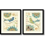 "Amanti Art ""Eastern Tales Birds - Set of 2"" Framed Art Print by Daphne Brissonnet, 19.13""H x 16.13""W"