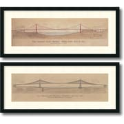 "Amanti Art ""Golden Gate Bridge, Brooklyn Bridge - Set of 2"" Framed Art Print by Craig S. Holmes, 17""H x 40""W"