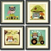 Amanti Art Owls Owls Owls - Set of 4 Framed Art Print by Nancy Lee, 18.5H x 18.5W