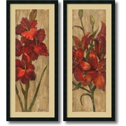 """Amanti Art """"Vivid Red Gladiola and Lily on Gold - Set of 2"""" Framed Art Print by Silvia Vassileva, 42""""H x 18""""W"""