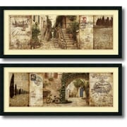 """Amanti Art """"Tuscany and Courtyard - Set of 2"""" Framed Art Print by Keith Mallett, 18""""H x 42""""W"""