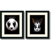 Amanti Art Panda & Rabbit Rocks - Set of 2 Framed Art Print by Robert Farkas, 20H x 17W