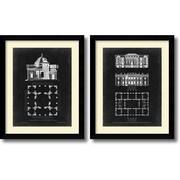 Amanti Art Graphic Building & Plans III & VI - Set of 2 Framed Art Print by James Gibbs, 31.63H x 25.63W