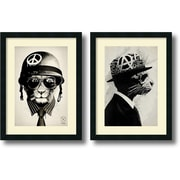 "Amanti Art ""Office Warfare & Middle Class Rebel - Set of 2"" Framed Art Print by Hidden Moves, 24""H x 18""W"