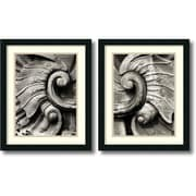 """Amanti Art """"Stone Carving - Set of 2"""" Framed Art Print by Tang Ling, 22""""H x 18""""W"""